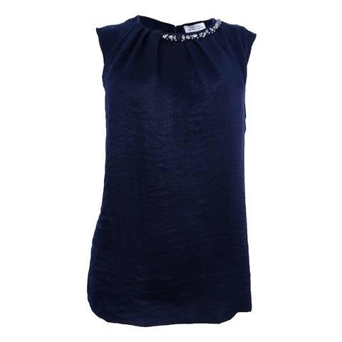 Tahari ASL Women's Plus Size Round-Neck Pleat-Front Top - Ivory White - 3X