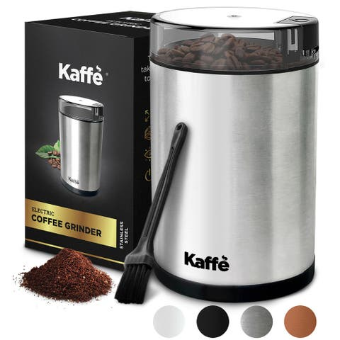 KF2020 Electric Coffee Grinder by Kaffe - Stainless Steel - 3oz Capacity with Easy On/Off Button. Cleaning Brush Included!