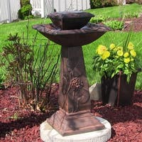 Sunnydaze Lily Leaf Two Tier Solar on Demand Fountain Rust Finish - 31 Inch Tall
