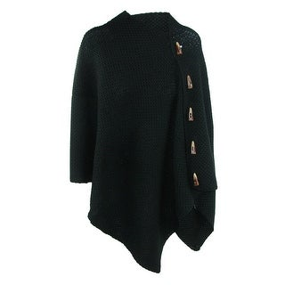 CTM® Women's Knit Shawl Wrap with Faux Horn Buttons - One size