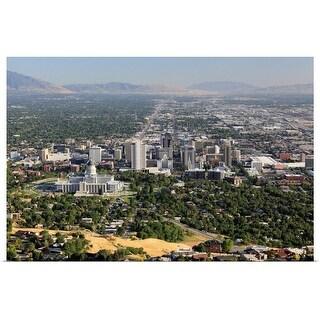"""""""Aerial view of downtown Salt Lake City, Utah"""" Poster Print"""