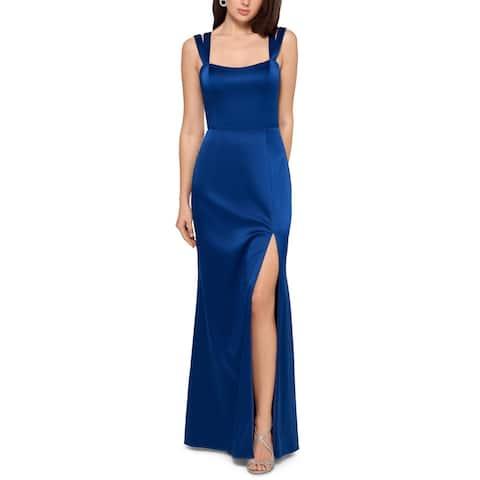 Xscape Womens Formal Dress Satin Straight Neck - Blue