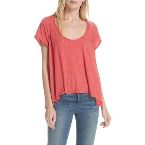 Free People Womens Nori Drapey Basic T-Shirt, Red, Small