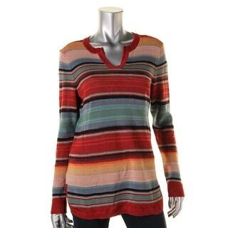 LRL Lauren Jeans Co. Womens Tunic Sweater Linen Blend Striped