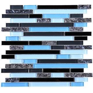 TileGen. Brick Random Sized Marble Mix Glass Mosaic Tile in Black/Blue Wall Tile (10 sheets/9.6sqft.)