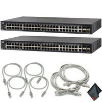 Cisco Small Business SG550X-48P Managed L3 Switch with Extra Cat5 Cables (2-Pack)