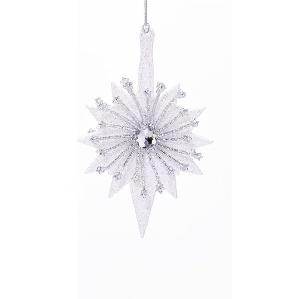 "6"" White and Silver Glittered Star with Round Gem Hanging Christmas Ornament"