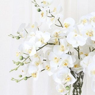 """G Home Collection Real Touch Butterfly Orchid Stem in White 34"""" Tall"""