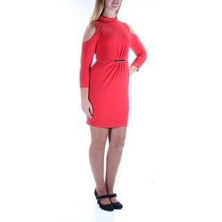 Womens Coral 3/4 Sleeve Mini Sheath Cocktail Dress Size: 10