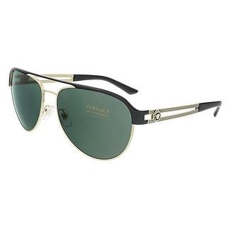 Versace VE2165 136671 Pale Gold/Black Aviator Sunglasses