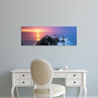 Easy Art Prints Panoramic Images's 'Sunset, Nugget Point Lighthouse, South Island, New Zealand' Premium Canvas Art