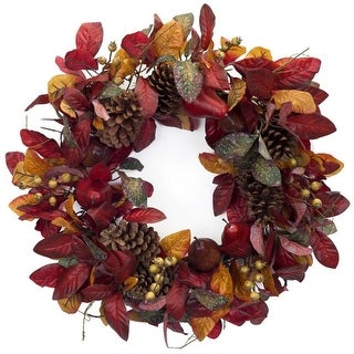 """23"""" Artificial Autumn Foliage with Pine Cones and Pears Decorative Thanksgiving Wreath - Yellow"""