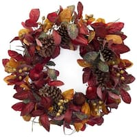 "23"" Artificial Autumn Foliage with Pine Cones and Pears Decorative Thanksgiving Wreath - Yellow"