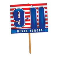 "Pack of 6 Red, White and Blue Never Forget 9/11 Yard Sign 24"" - Red"