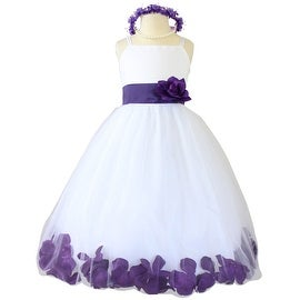Flower Girl Dresses Rose Petal Wallao White (Baby - 14) Purple Violet