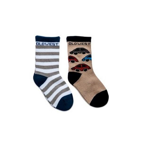 Old West Socks Boys Infant Poppets 2 pack Grip Comfort Brown
