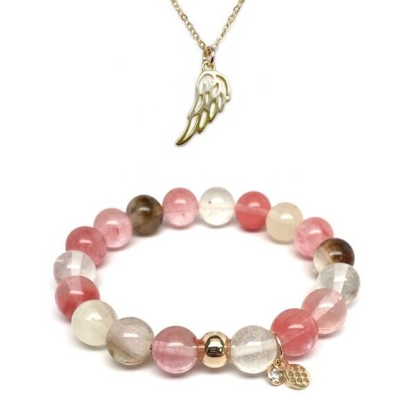 """Cherry Pink Quartz 7"""" Bracelet & Angel Wing Gold Charm Necklace Set"""