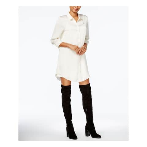 KENSIE Womens Ivory 3/4 Sleeve Above The Knee Shift Dress Size L