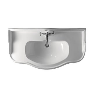 "WS Bath Collections 1050 1079  39-7/16"" Ceramic Wall Mounted Bathroom Sink With 1 or 3 Holes Drilled and Overflow"