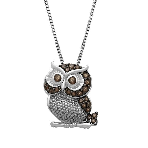 1/2 ct Smoky Quartz Owl Pendant in Sterling Silver - Brown