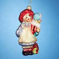 "Pack of 6 Raggedy Ann with Stocking Glass Christmas Ornaments 5"" - multi"