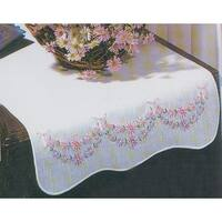 "Stamped White Dresser Scarf For Embroidery 14""X39""-Petit Fleur"