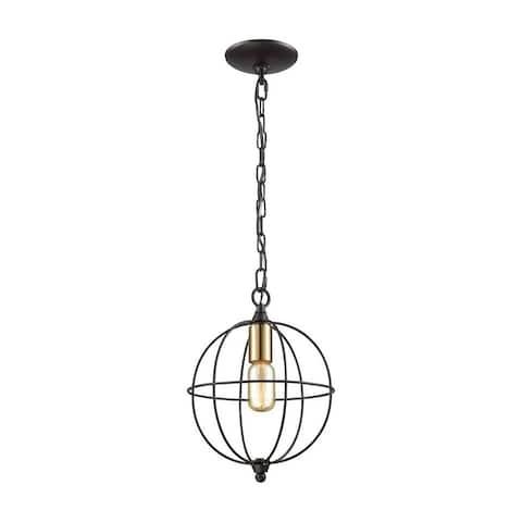 One Light Mini Pendant Orb Style with Satin Brass Sockets - Metal Sphere Pendant Light Oil Rubbed
