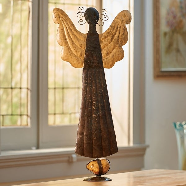 Kalalou A5797 Hand Hammered Standing Angel W Gold Wings & Caged Rock Base