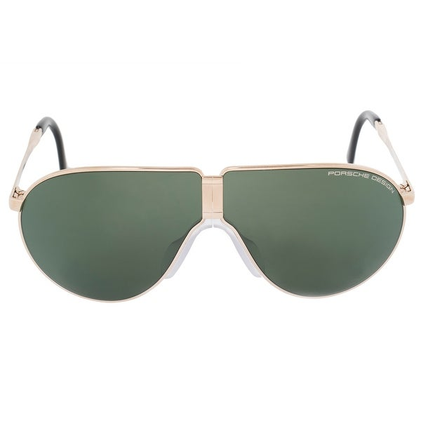 Porsche Design Design Heritage P8480 A 66 Unbreakable Foldable Sunglasses for Men | Light Gold Titanium Frame | Green Mi