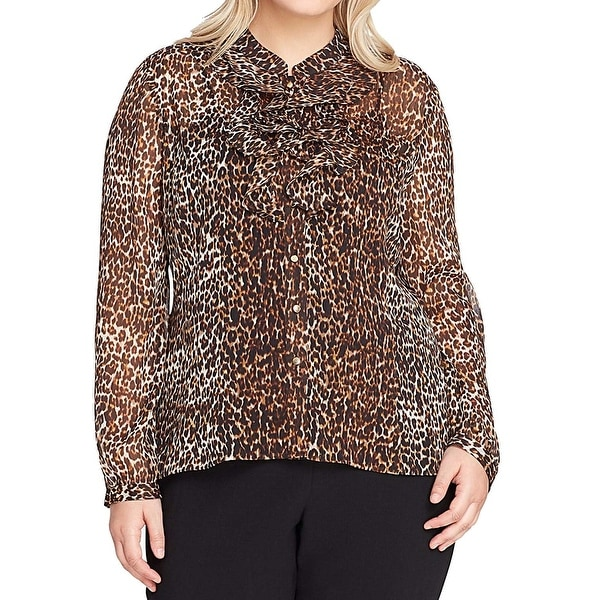 7ba0fda929d4c3 Tahari by ASL Brown Women's Size 3X Plus Leopard Print Sheer Blouse