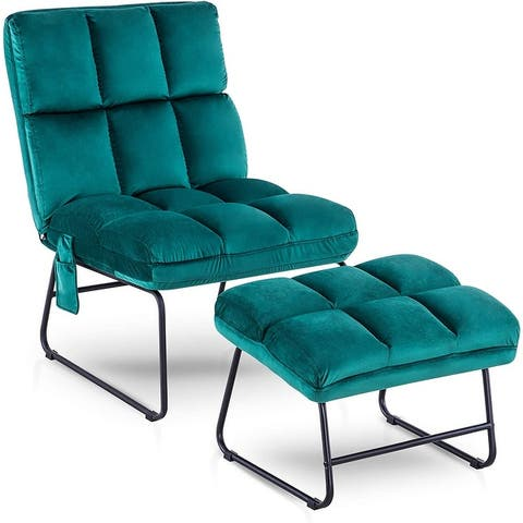 Mcombo Accent Chair with Ottoman, Velvet Modern Side Pocket Metal Legs, Club Chair Lounge Sofa Couch 0014