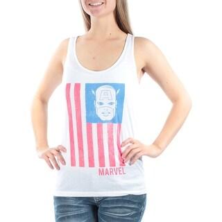 MARVEL Womens White Printed Sleeveless Scoop Neck Top Juniors Size: M