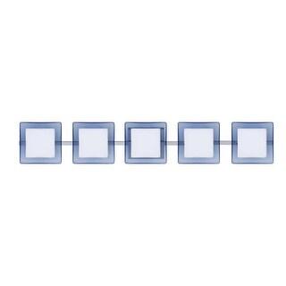 Besa Lighting 5WS-773592 Alex 5 Light ADA Compliant Halogen Bathroom Vanity Light with Opal / Blue Glass Shades