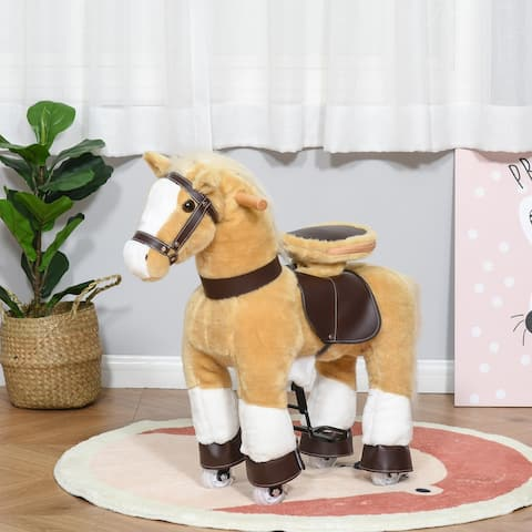 Qaba Ride-on Walking Rolling Kids Horse with Easy Rolling Wheels, Soft Huggable Body, & a Large Size for Kids 3-8 Years