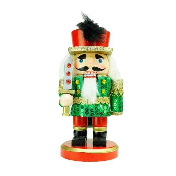 "7"" Green, Red and Gold Wooden Christmas Chubby Nutcracker Soldier with Sword"