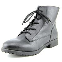 Style & Co. Womens QWINN Leather Round Toe Ankle Combat Boots
