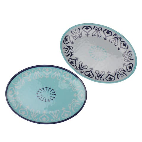 "Set of 2 Blue and White Oval Damask Serving Platters 13.75"" - N/A"