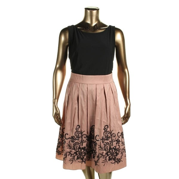 SLNY Womens Plus Casual Dress Mixed Media Embellished
