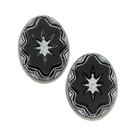Czech Glass, Vintage Style Intaglio Star Cabochon 18x13mm, 2 Pieces, Silver on Jet