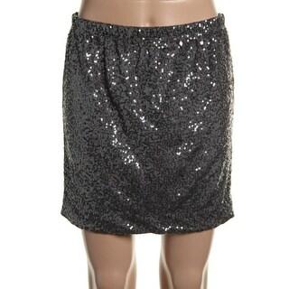 Just Flirt Womens Sequined Lined Mini Skirt - S