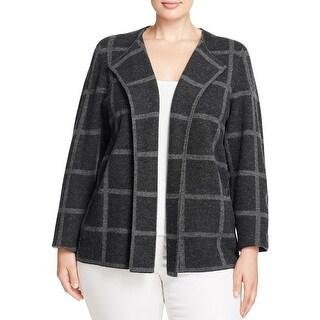 Eileen Fisher Womens Plus Jacket Wool Printed - 2x