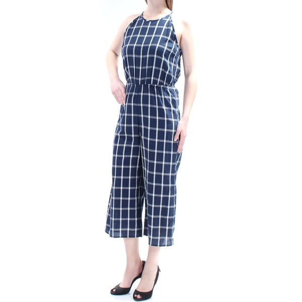 9ba4e2d95ff Shop MAISON JULES Womens Navy Check Spaghetti Strap Jewel Neck Jumpsuit  Size  XS - On Sale - Free Shipping On Orders Over  45 - Overstock - 22430899