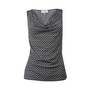 Laundry by Shelli Segal Women's Pattern Cowl Top - black/optic white/multi