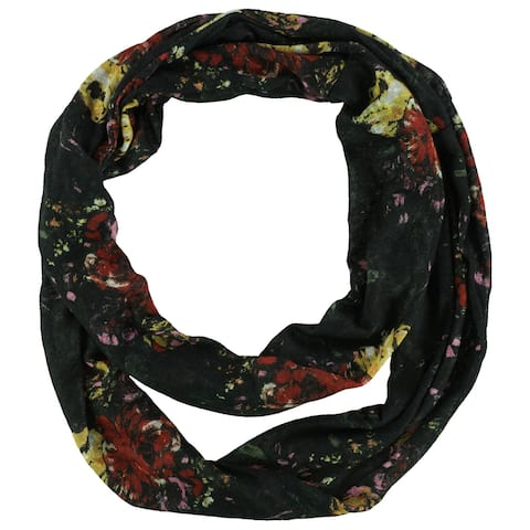 Self Esteem Womens Floral Infinity Scarf Wrap, black, One Size - One Size