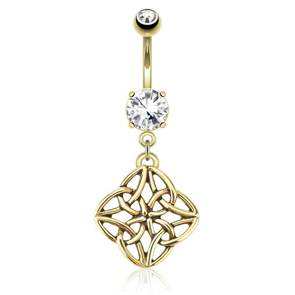 Celestial Knot Dangle gold-plated Navel Belly Button Ring