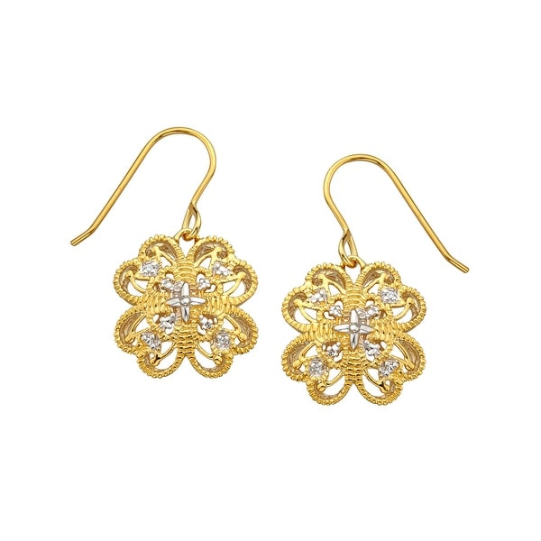 Flower Filigree Earrings in 18K Gold-Plated Sterling Silver - YELLOW
