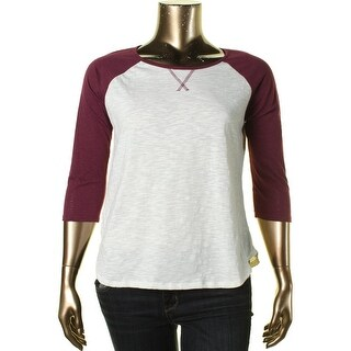 Hippie Rose Womens Juniors Contrast Trim 3/4 Sleeve Baseball Tee