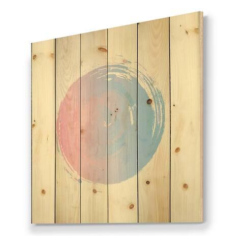 Designart 'Pink And Blue Zen Circle' Bohemian & Eclectic Print on Natural Pine Wood
