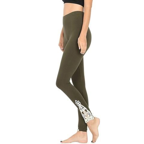 NioBe Clothing Womens Full Length Cotton Lace Leggings - Ash Grey