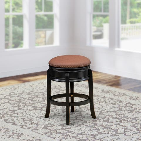 East West Furniture Stunning Bar Stool- Backless Stool with Round Shape - PU leather Seat and 4 Solid Wood Curved Legs - 20.8